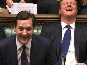 Chancellor George Osborne, left, and David Cameron in the House of Commons